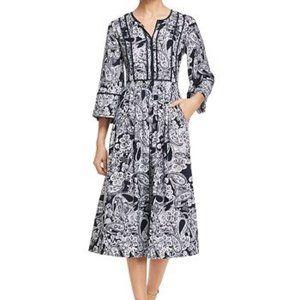 NWOT Donna Karan Navy & White Midi Day Dress